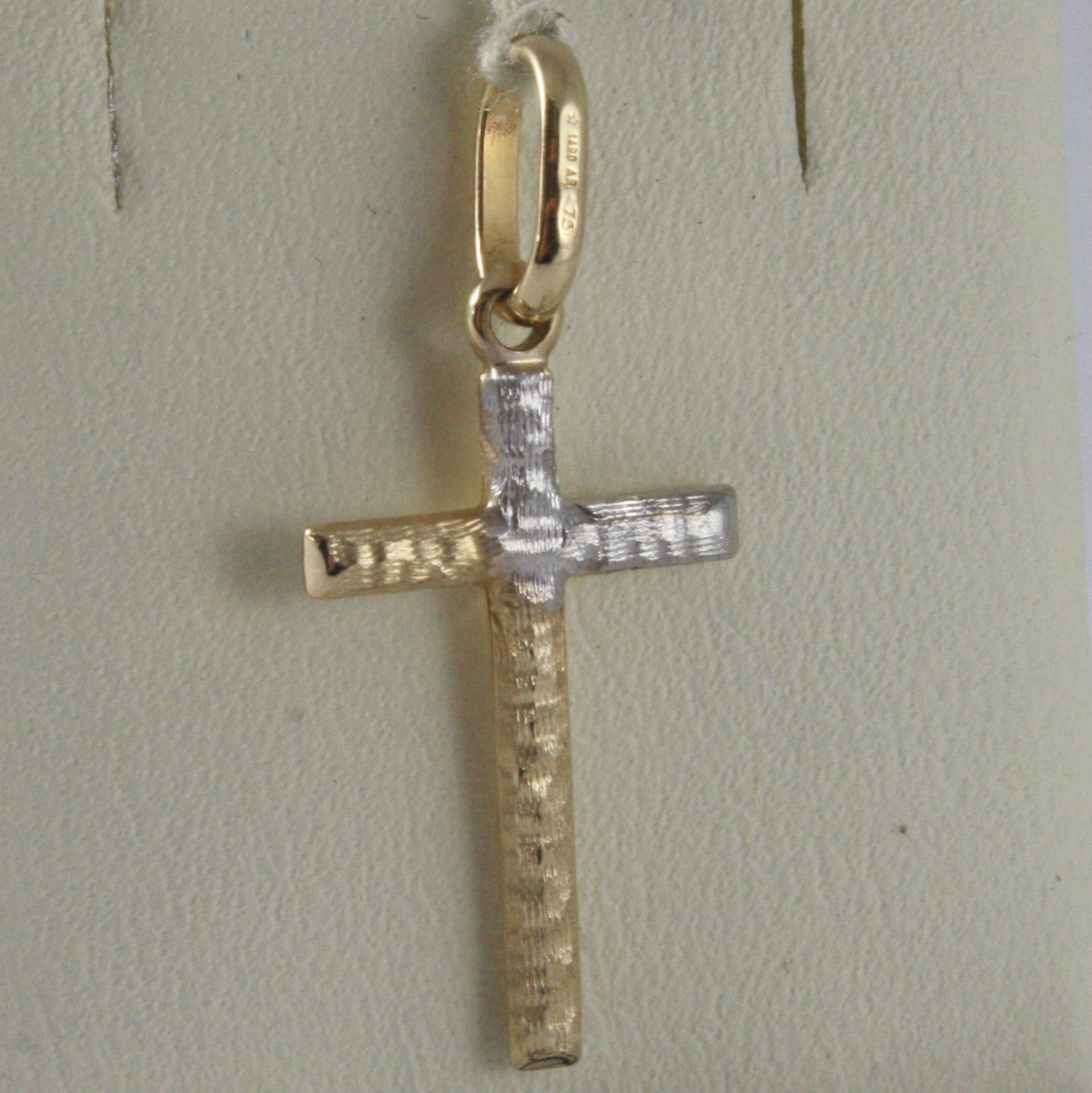 SOLID 18K WHITE & YELLOW GOLD CROSS, TUBE, SATIN HAMMERED 1.02, MADE IN ITALY