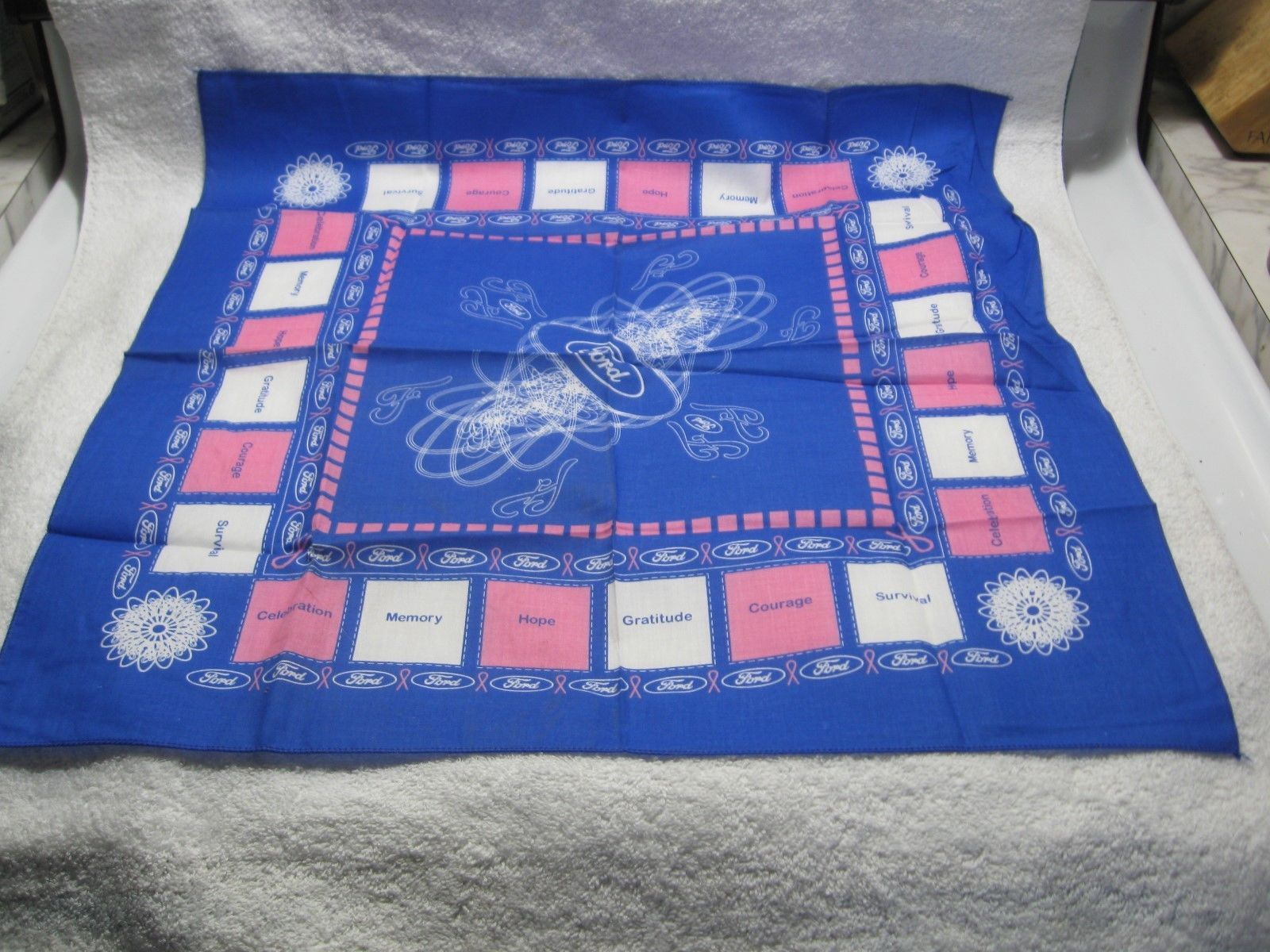Primary image for Vintage NOS FORD Breast Cancer Support Promotional Scarf-Display-Wear Pink!!!
