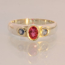 Red Ruby Blue Sapphire Handmade Sterling Silver Ladies Three Stone Ring ... - £59.97 GBP