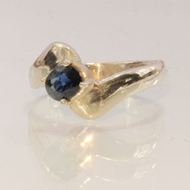African Blue Sapphire Handmade Sterling Silver Ladies Solitaire Ring siz... - £40.21 GBP