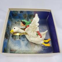 Vintage Hallmark 1981 Fantasy Elf Riding Flying Goose Christmas Ornament - $14.50