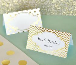 144 Gold / Silver Metallic Printable Foil Escort Anniversary Wedding Place Cards - $104.45