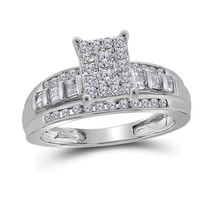 10kt White Gold Round Diamond Cluster Bridal Wedding Engagement Ring 1/2 Ctw - $498.34