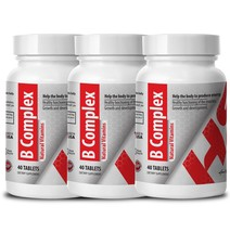 B-Complex Natural Vitamins. Growth and development (3 Bottles, 120 Tablets) - $27.07