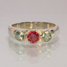 Red Ruby Blue Zircon Handmade Sterling Silver Ladies Three Stone Ring size 9.25 - £75.08 GBP
