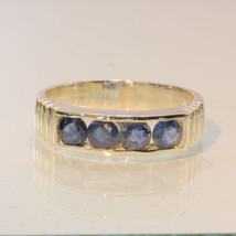 African Blue Sapphire Handmade Sterling Silver Channel Set Unisex Ring size 9 - £68.29 GBP
