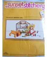VTG 10x20 frame Sunset Stitchery embroidery kit Childhood Treasures Girl... - $19.80