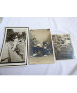 LOT OF 3 VINTAGE ANTIQUE PHOTOGRAPH PHOTO FAMILY WITH BABY YOUNG LADY W ... - $24.75
