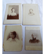 LOT OF 4 VINTAGE ANTIQUE PHOTOGRAPH CABINET PHOTO  WOMEN - $24.75