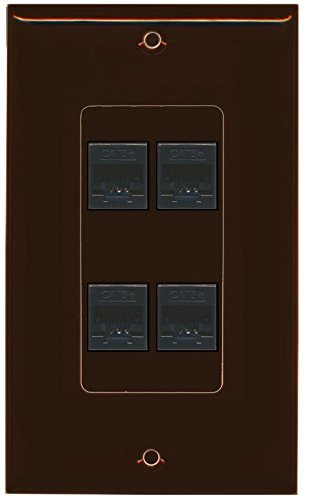 Primary image for RiteAV Decorative 1 Gang 4 Port Cat5e Wall Plate - Brown/Brown