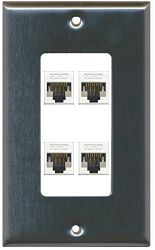 Primary image for RiteAV Decorative 1 Gang 4 Port Cat5e Wall Plate - Stainless/White