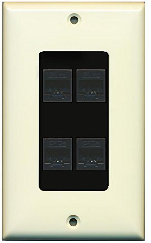 Primary image for RiteAV Decorative 1 Gang 4 Port Cat5e Wall Plate - Light Almond/Black