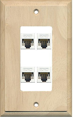 Primary image for RiteAV Decorative 1 Gang 4 Port Cat5e Wall Plate - Wood/White