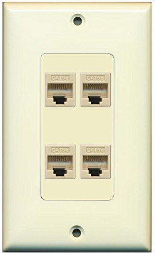 Primary image for RiteAV Decorative 1 Gang 4 Port Cat5e Wall Plate - Light Almond/Light Almond