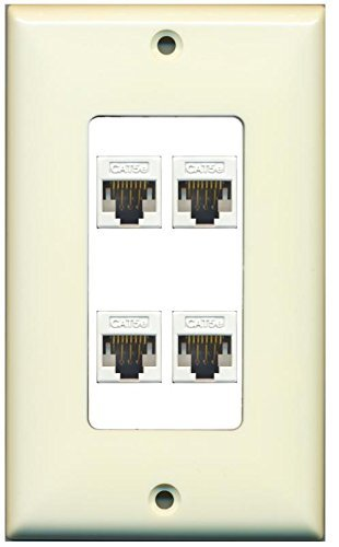 Primary image for RiteAV Decorative 1 Gang 4 Port Cat5e Wall Plate - Light Almond/White