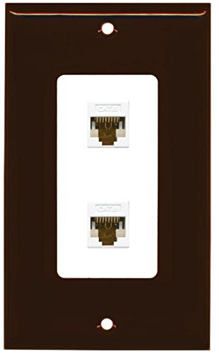 Primary image for RiteAV Decorative 1 Gang 2 Port Cat6 Wall Plate - Brown/White
