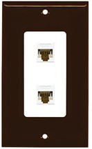 RiteAV Decorative 1 Gang 2 Port Cat6 Wall Plate - Brown/White - $13.81