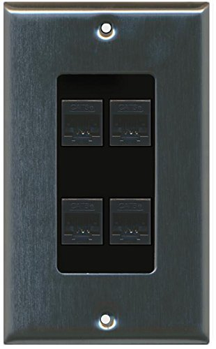 Primary image for RiteAV Decorative 1 Gang 4 Port Cat5e Wall Plate - Stainless/Black