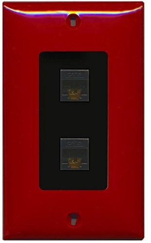 Primary image for RiteAV Decorative 1 Gang 2 Port Cat6 Wall Plate - Red/Black