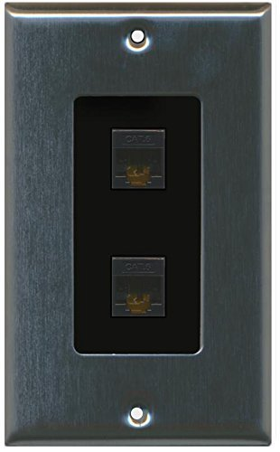 Primary image for RiteAV Decorative 1 Gang 2 Port Cat6 Wall Plate - Stainless/Black