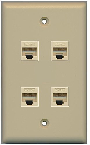 Primary image for RiteAV 1 Gang 4 Port Cat5e Wall Plate - Ivory