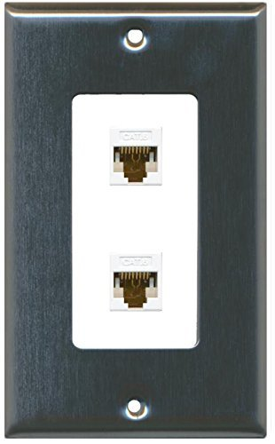 Primary image for RiteAV Decorative 1 Gang 2 Port Cat6 Wall Plate - Stainless/White