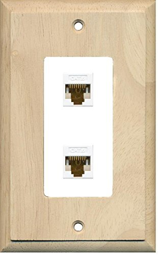 Primary image for RiteAV Decorative 1 Gang 2 Port Cat6 Wall Plate - Wood/White