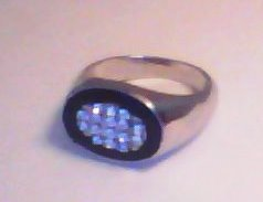 MEN'S RING - BLACK ACRYLIC WITH RHINESTONES IN OVAL SETTING