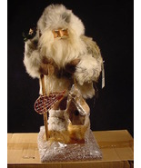 Rustic Santa in Fur Parka with Snow Shoes Christmas Holiday Decor - $34.99