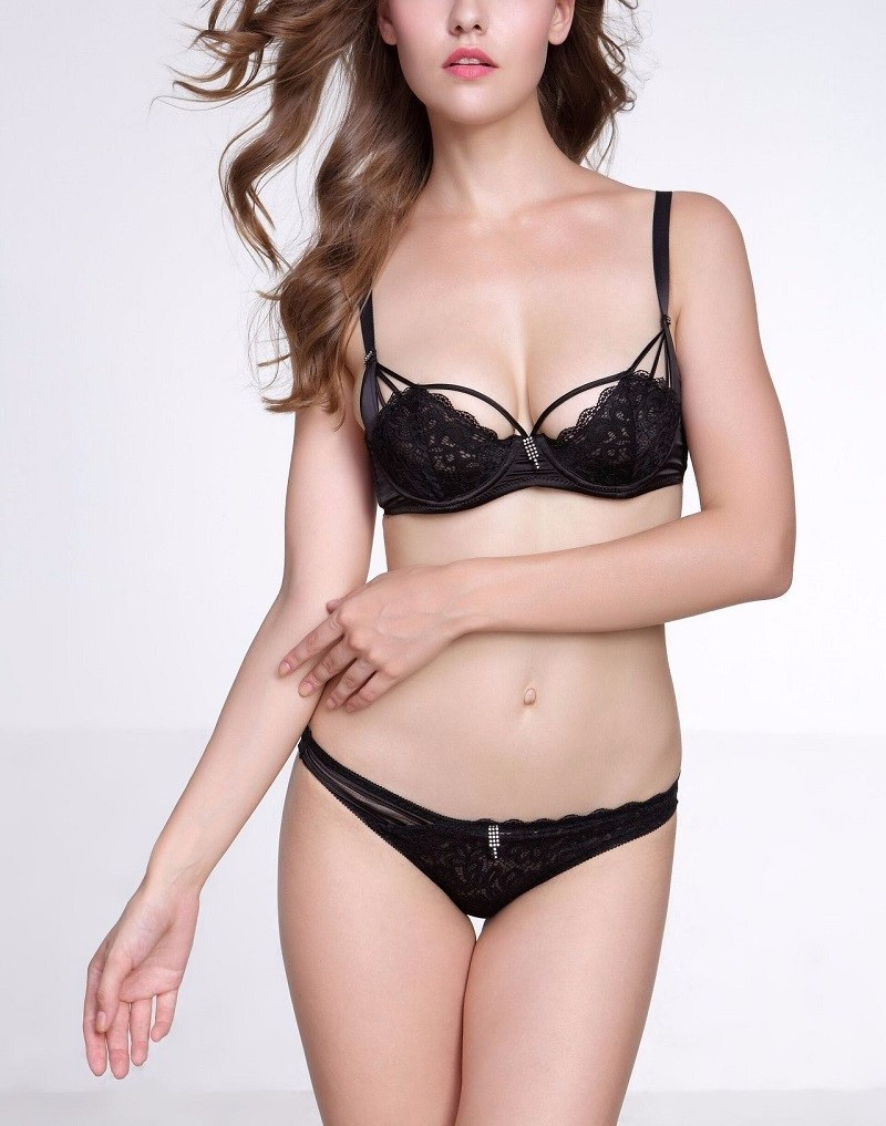 Primary image for A B C D Cups 32 34 36 38 Underwear Embroidery ultra-thin Bra set Women Lingerie