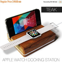 Apple watch docking station with white rope,gift for her,iphone docking ... - $29.40