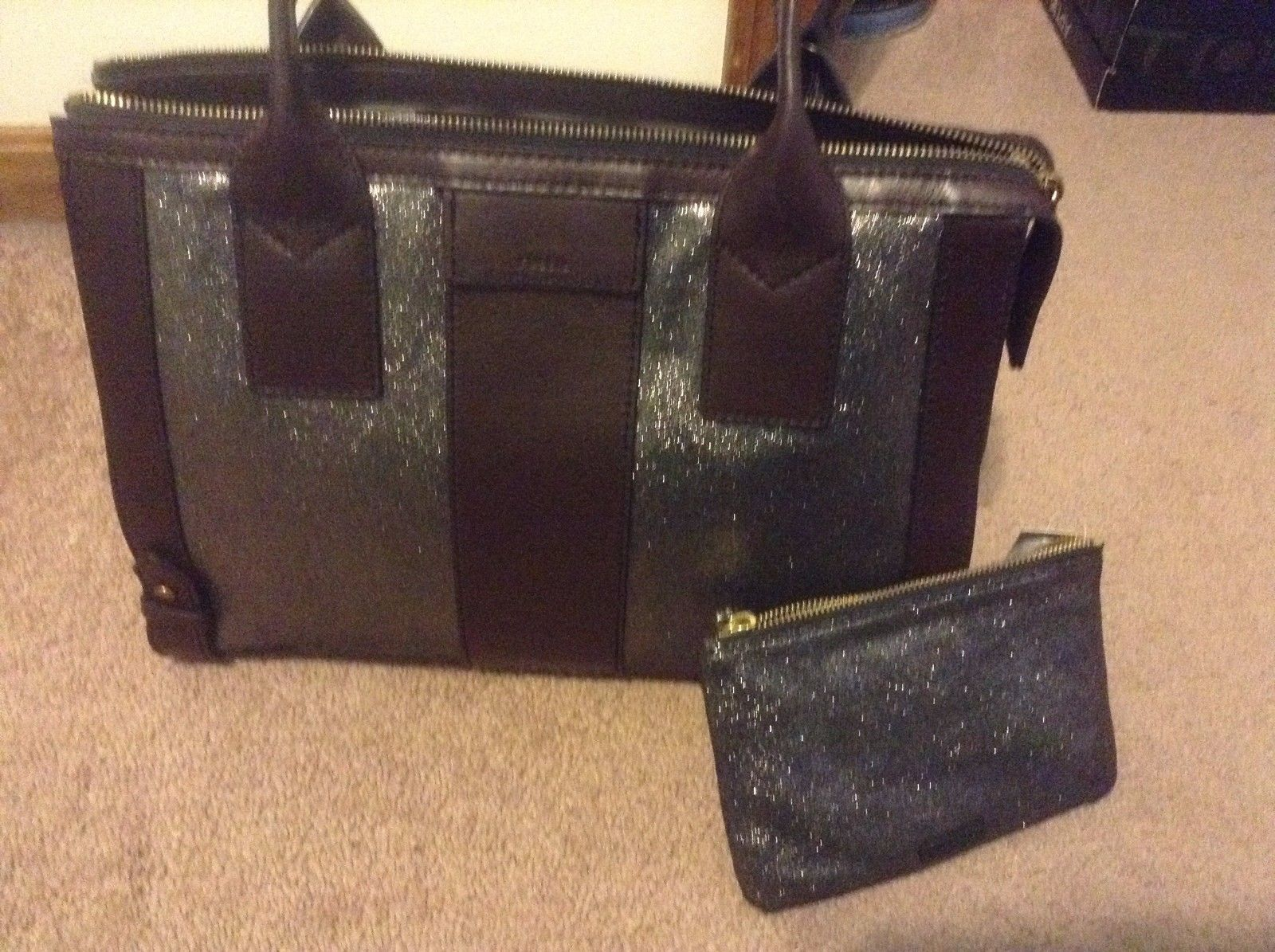 Primary image for AUTHENTIC NEW NWT FOSSIL LEATHER  GWEN PEWTER SATCHEL BAG & keely wristlet lot