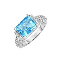 Blue Topaz and White Sapphire Ring in 18k Yellow Gold and Sterling Silver - $166.59