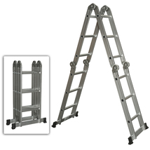 Folding Step Ladder Multi Purpose Aluminum Ladder Heavy Duty - $94.99