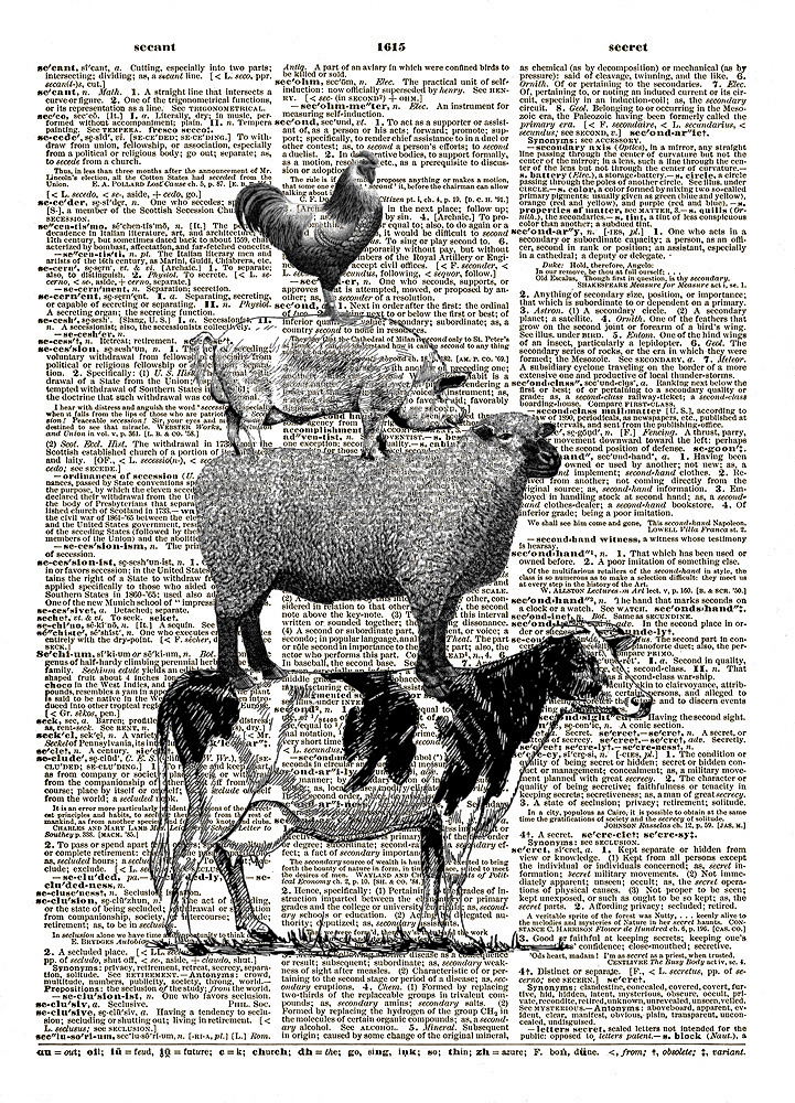 FARM ANIMALS Cow, Sheep, Pig, Rooster Vintage Dictionary Art Print No. 0077