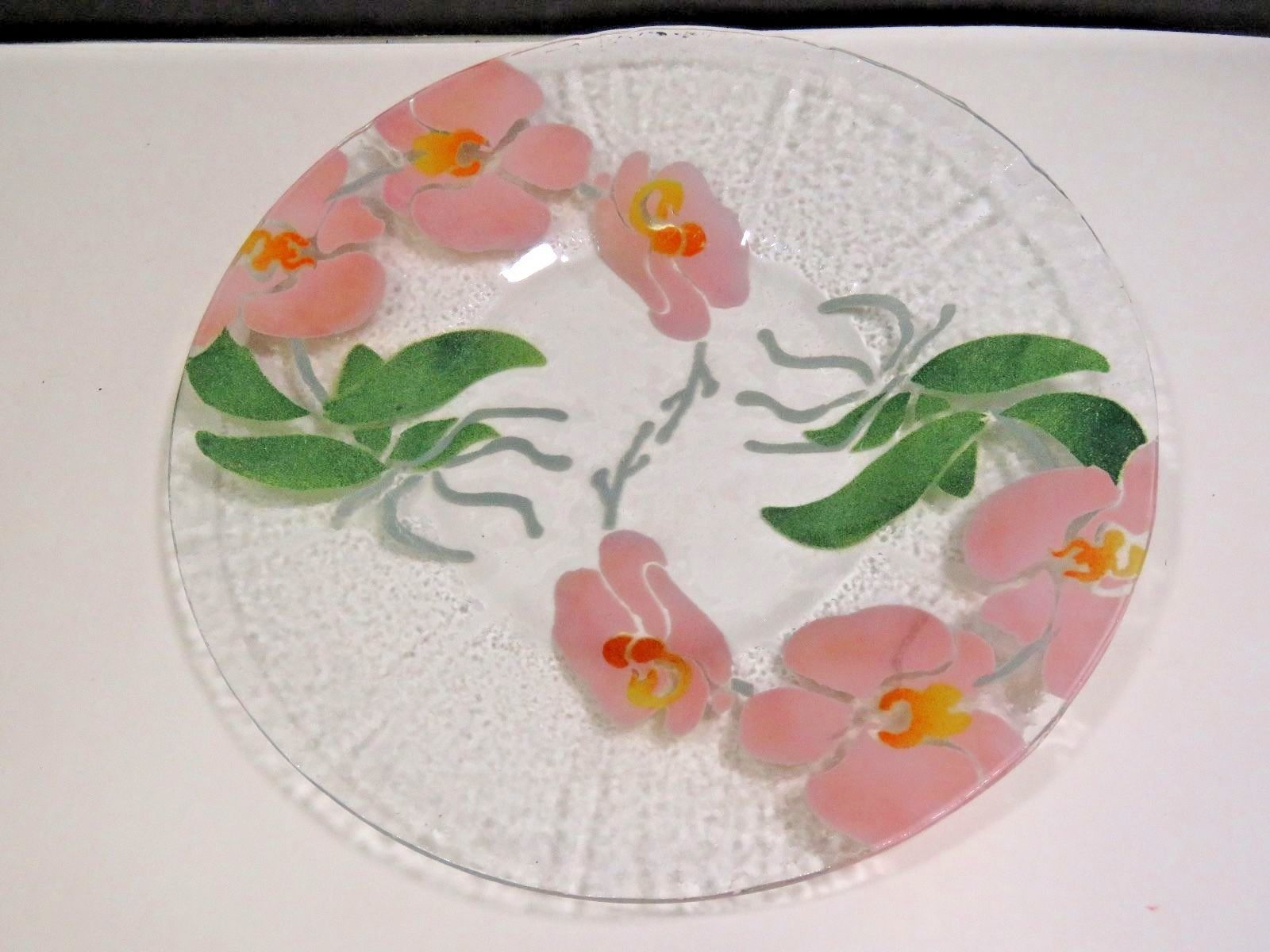 "Primary image for 12"" Sydenstriker Fused Glass Platter Plate Morning Glories Pink Flowers"