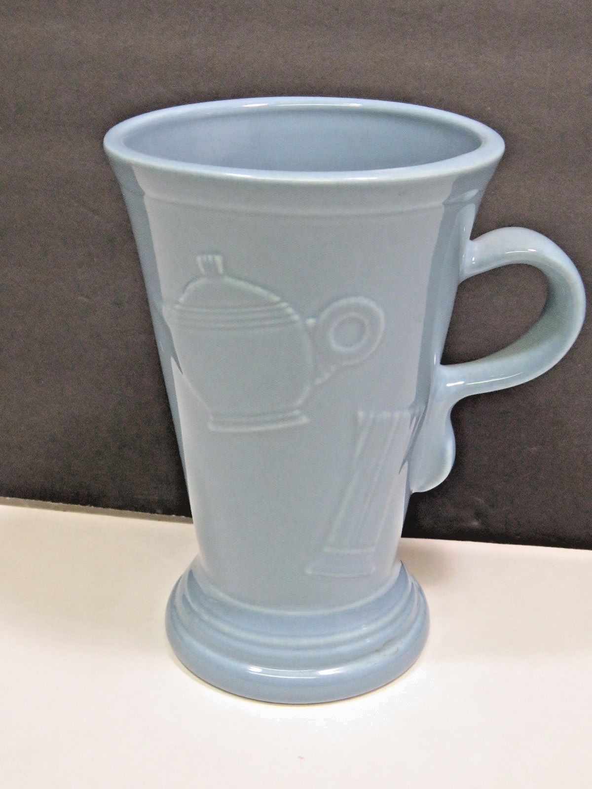 Primary image for Fiesta Retired Periwinkle Blue Cappuccino Latte Tall Mug Embossed Icon