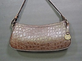 Brahmin Brown Leather Stamped Croc Print Shoulder Bag Hobo Purse Prissy ... - $113.85