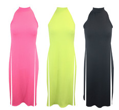 New Ladies Sleeveless Ribbed High Split Side Slit Stylish T Shirt Top Maxi Dress - $11.95