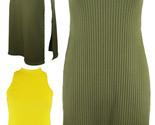New Ladies Sleeveless Ribbed High Split Side Slit Stylish Top Maxi Dress 8-14 UK