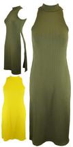 New Ladies Sleeveless Ribbed High Split Side Slit Stylish Top Maxi Dress 8-14 UK - $10.62