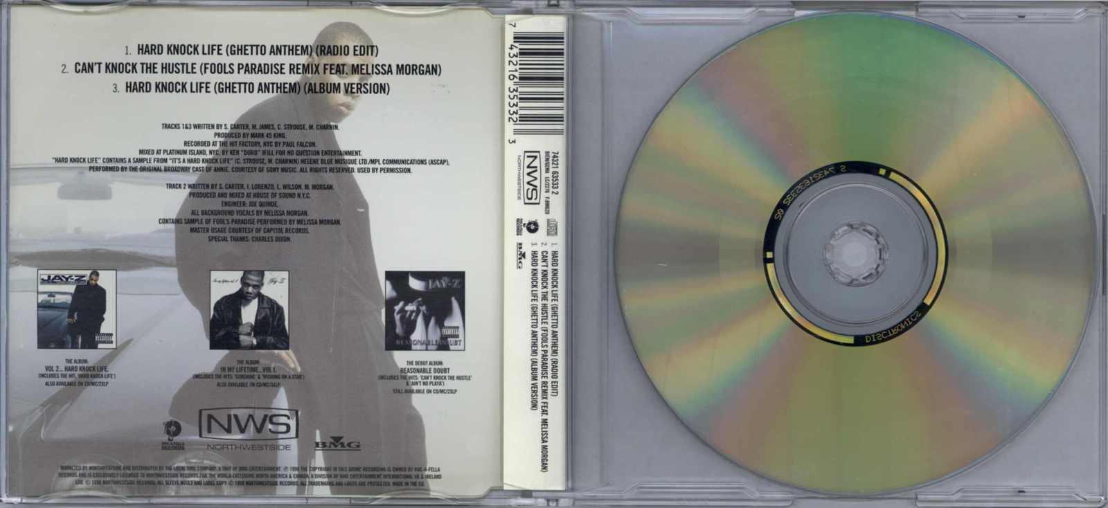 JAY-Z - HARD KNOCK LIFE (GHETTO ANTHEM) 1998 EU CD SINGLE NORTHWESTSIDE RECORDS