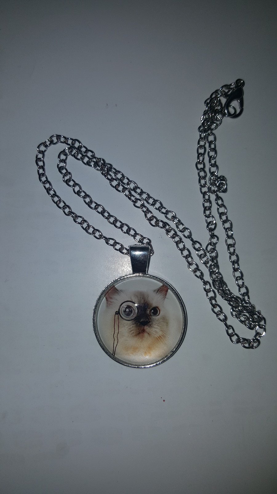 Primary image for SMART CAT GLASS CABOCHON PENDANT NECKLACE     C/S & H AVAILABLE