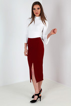 New Womens Crepe Split Front Pencil Midi Skirt Wine Size 8-14 Uk - $8.63