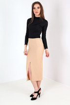 New Womens Crepe Split Front Pencil Midi Skirt Camel Size 8-14 Uk - $8.63