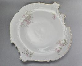 Austria Merkelsgrun Porcelain White Plate Pink Flowers Gold Trim Clover... - $10.99