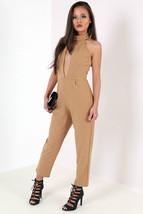 New Halterneck Cut Out Keyhole Bust Front Split Jumpsuit Party Size 8-14 UK - $12.74