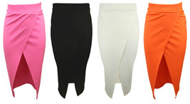 New Womens Wrap Skirt Ladies Black White Bodycon Office Pencil Midi Skirt 8-14 - $9.28