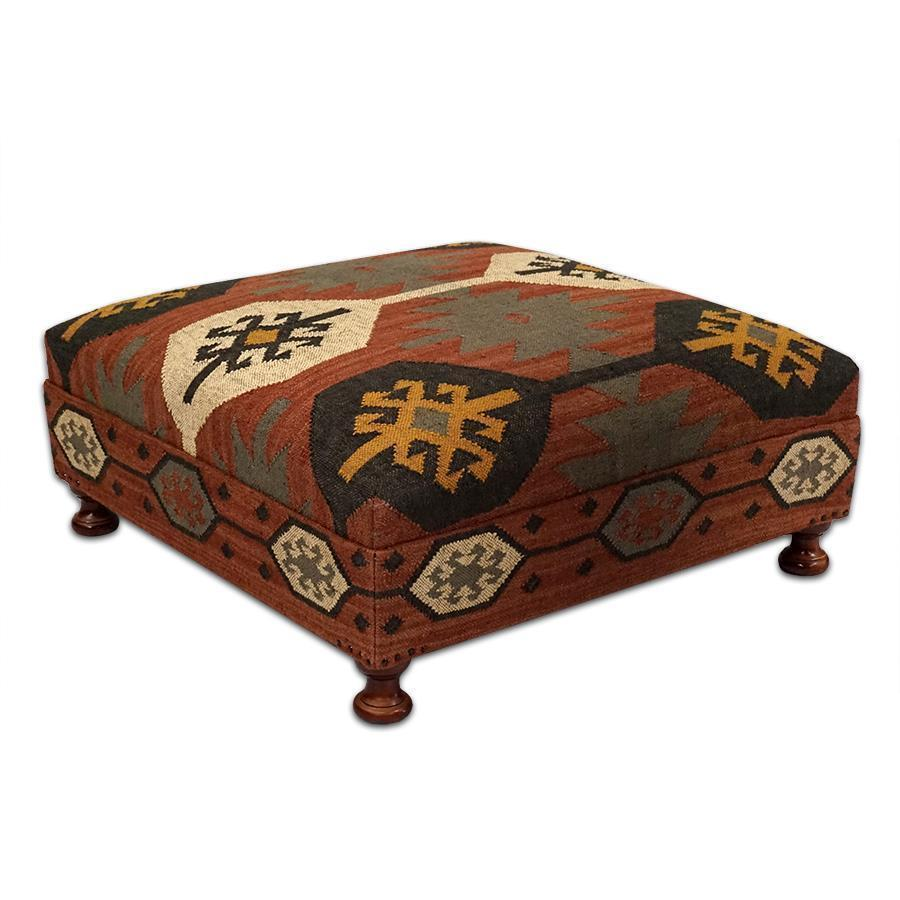Large Wool Kilim Jute Coffee Table Ottoman Square 39 39 D X 16 39 39 H Ottomans Footstools Poufs