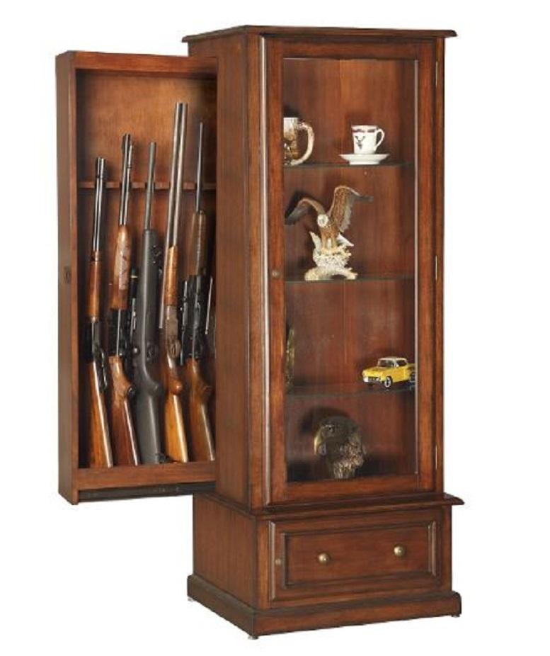 Wooden curio cabinet with concealed locking gun storage